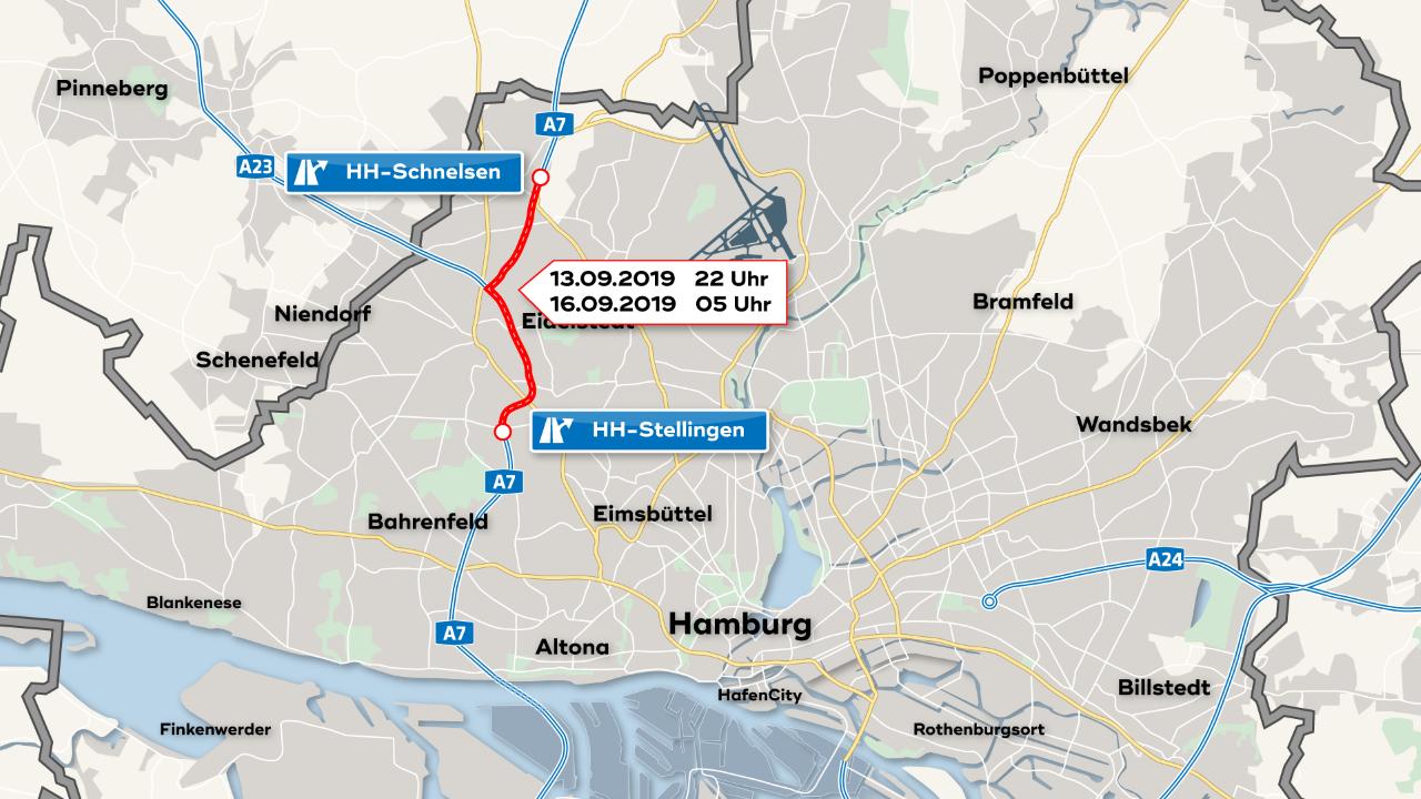 A7-Sperrung am Wochenende - Umleitung ausgeschildert - SAT ...